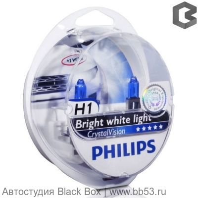 H1 Philips CRYSTAL VISION 4300K 12258CVSM [EUROBOX 2 шт. + 2 габарита 55W P14.5s]