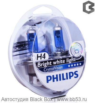 H4 Philips CRYSTAL VISION 4300K [EUROBOX 2 шт. + 2 габарита 60/55W P43t-38]