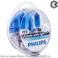 H4 Philips DIAMOND VISION 5000K 12342DVS2 [EUROBOX 2 шт. 60/55W P43t]