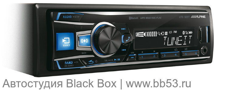 Alpine UTE-92BT [бездисковая/Bluetooth/front USB+AUX in/EQ/3 RCA Sub control/любая подсветка]