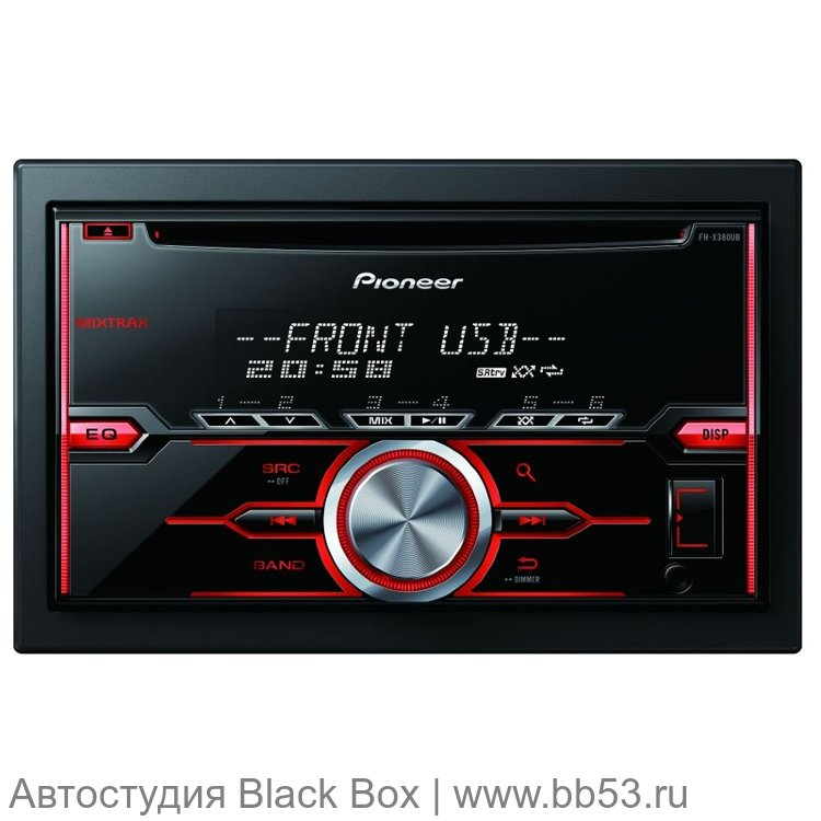 Pioneer FH-X380UB [ЖК дисплей/mp3/front USB/AUX/1 RCA out/красная подсветка]