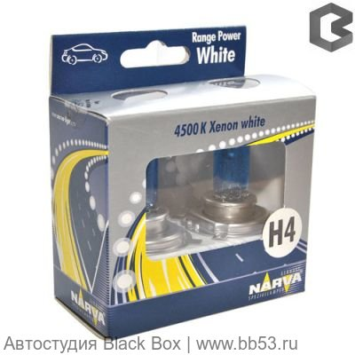 H4 Narva RANGE POWER WHITE 4500K [2 шт. 100/90W P43t-38]